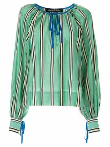 Anna October tied striped blouse - Green