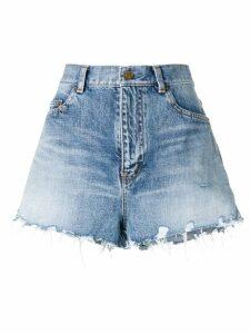 Saint Laurent frayed shorts - Blue
