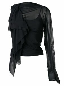 Maison Margiela one sleeve ruffle blouse - Black