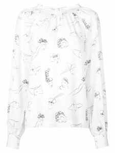Co face print blouse - White