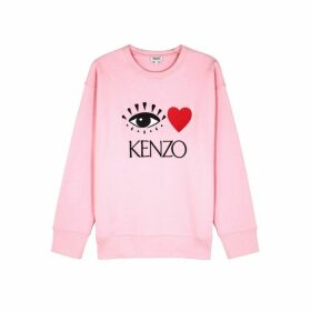 Kenzo Pink Logo-embroidered Cotton Sweatshirt
