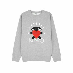 Kenzo Grey Logo-embroidered Cotton Sweatshirt