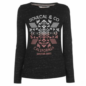 SoulCal Nav Long Sleeve T Shirt Ladies - Black Twist