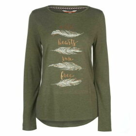 SoulCal Nav Long Sleeve T Shirt Ladies - Khaki