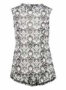 Womens *Izabel London Black Damask Print Peplum Top, Black