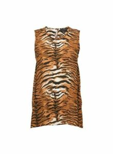 Womens Brown Tiger Print Round Neck Top, Brown