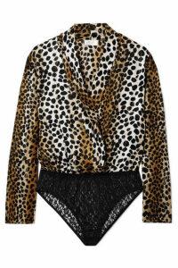 RIXO - Avril Wrap-effect Metallic Leopard-print Satin And Stretch-lace Bodysuit - Brown