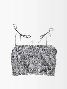 Saint Laurent - Floral-embroidered Cotton-blend Shirt - Womens - Dark Green