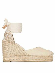 Castañer cream Carina 80 ankle tie wedge sandals - NEUTRALS
