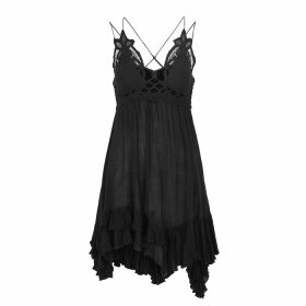 Free People Adella Black Lace-trimmed Mini Dress