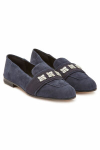 Max Mara Claire Suede Loafers with Crystals
