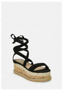 Black Faux Suede Lace Up Flatform Sandals, Black