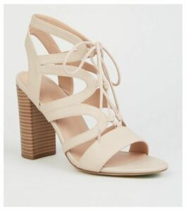 Cream Leather-Look Lace Up Ghillie Block Heels New Look