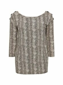 Brown Animal Print Button Top, Brown