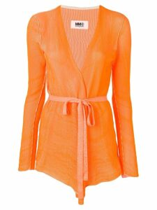 Mm6 Maison Margiela belted waist cardigan - Orange