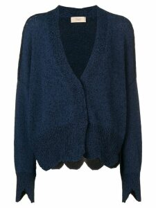 Maison Flaneur oversized notched hem cardigan - Blue