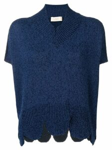 Maison Flaneur oversized scalloped hem sweater - Blue