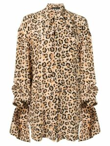 Rokh leopard print draped shirt - NEUTRALS