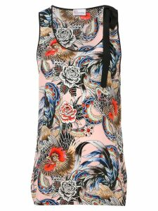 RedValentino rooster and floral print tank top - PINK