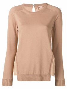 Nº21 sheer panel sweater - Neutrals