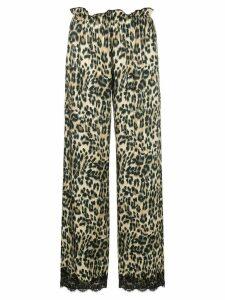 Icons leopard lace trim trousers - Black