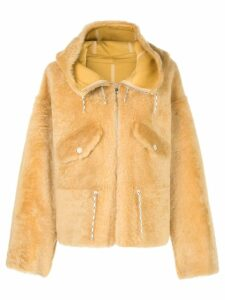 Yves Salomon hooded fitted coat - Yellow