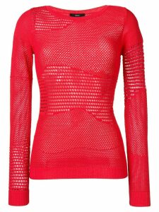 Diesel pointelle knitted jumper - Red