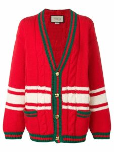 Gucci Web-trimmed cable knit cardigan - Red