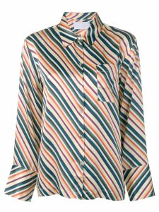 Asceno diagonal stripes silk pajama top - White