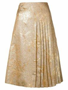 Rochas brocade pleated skirt - GOLD