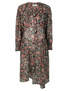 Isabel Marant Étoile floral long-sleeve flared dress - Black