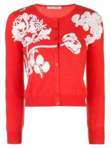 Oscar de la Renta floral embroidery knitted cardigan - Black