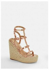 Rose Gold Dome Stud Wedges, Gold