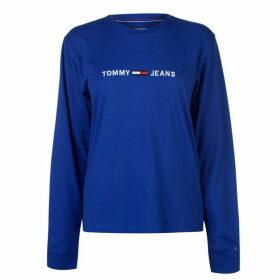 Tommy Jeans Clean Logo Long Sleeve T Shirt - Surf Blue