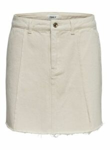 Womens Only Raw Edge White Denim Skirt, White
