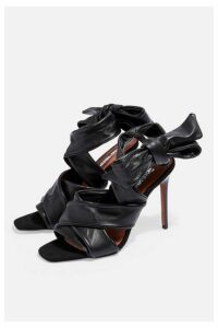Womens Idol Roka Tie Wrap Heel Sandals - Black, Black