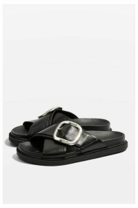 Womens Romeo Buckle Sandals - Black, Black