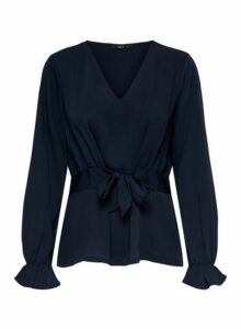 Womens **Only Navy Long Sleeve Blouse- Blue, Blue