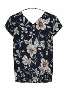 Womens **Navy Floral Print Blouse- Blue, Blue