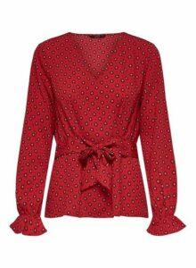 Womens **Only Red Long Sleeve Blouse, Red