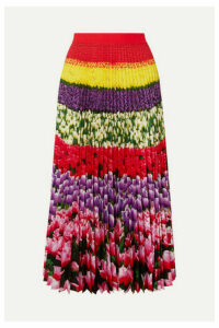 Mary Katrantzou - Uni Pleated Floral-print Crepe De Chine Midi Skirt - Pink