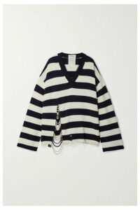 Monse - Oversized Faux Pearl-embellished Striped Knitted Sweater - Navy