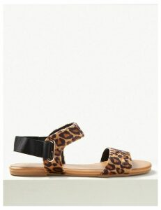 M&S Collection Ring Detail Animal Print Two Band Sandals