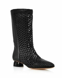 Salvatore Ferragamo Women's Tarsinavit Woven Leather Mid-Calf Boots