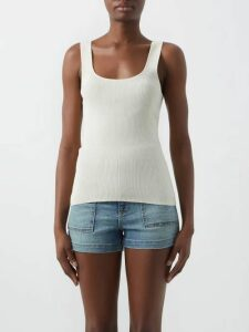 Roland Mouret - Pilar Neck-tie Hammered-satin Blouse - Womens - Navy