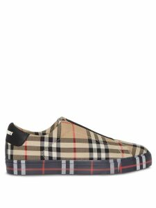 Burberry Contrast Check and Leather Slip-on Sneakers - NEUTRALS