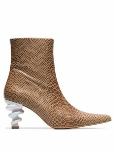 Kalda brown Island 70 twisted heel snake-effect leather boots -