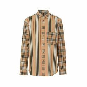 Burberry Classic Fit Patchwork Cotton Poplin Shirt