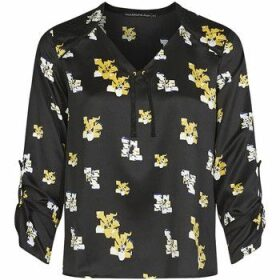 Mado Et Les Autres  Satin effect blouse with pixelated flowers print  women's Blouse in Black