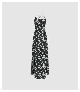 Reiss Fenna - Printed Cross Back Midi Dress in Multi, Womens, Size 14